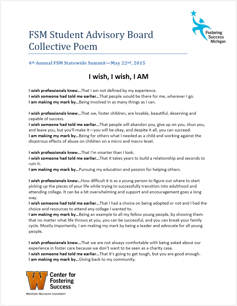 Fsm Student Advisory Board Collective Poem Fostering Success Michigan